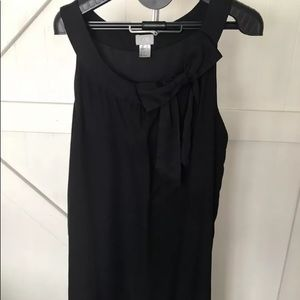 H&M Black Shift Dress Size 14 with Bow Knee Length
